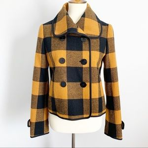 LOFT Buffalo Plaid Fitted Wool Cropped Peacoat